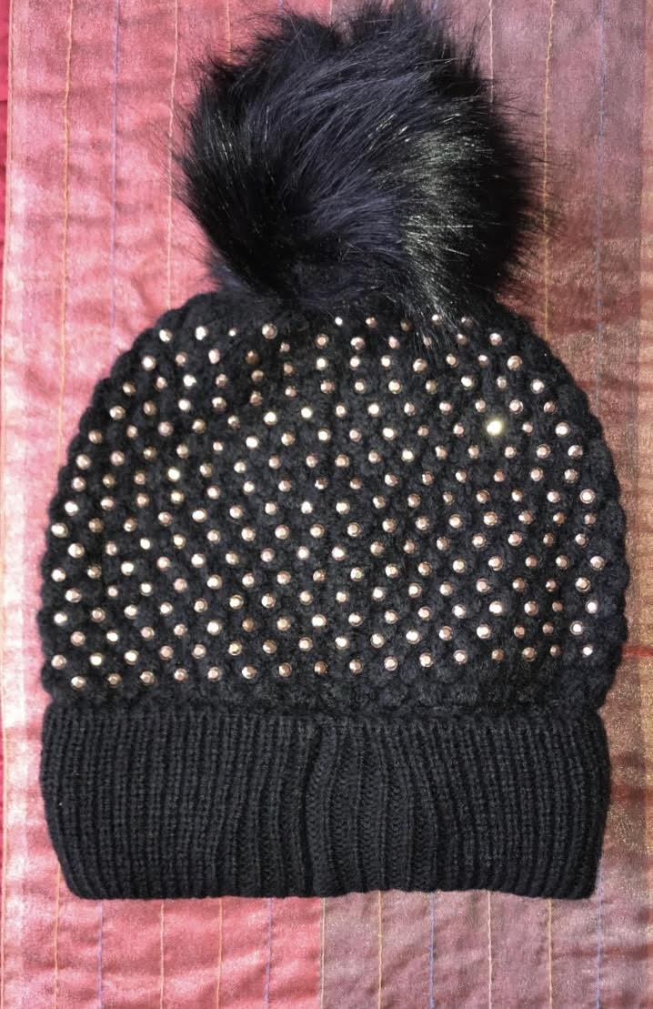 a7bcb293 Black Gold Studded Beenie with Black Pom – Glamhairus