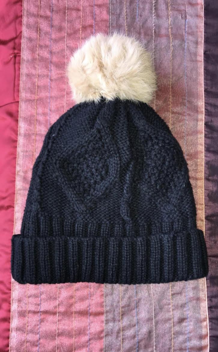 6c52c5f9 Black Winter Hat with Beige Pom Pom – Glamhairus