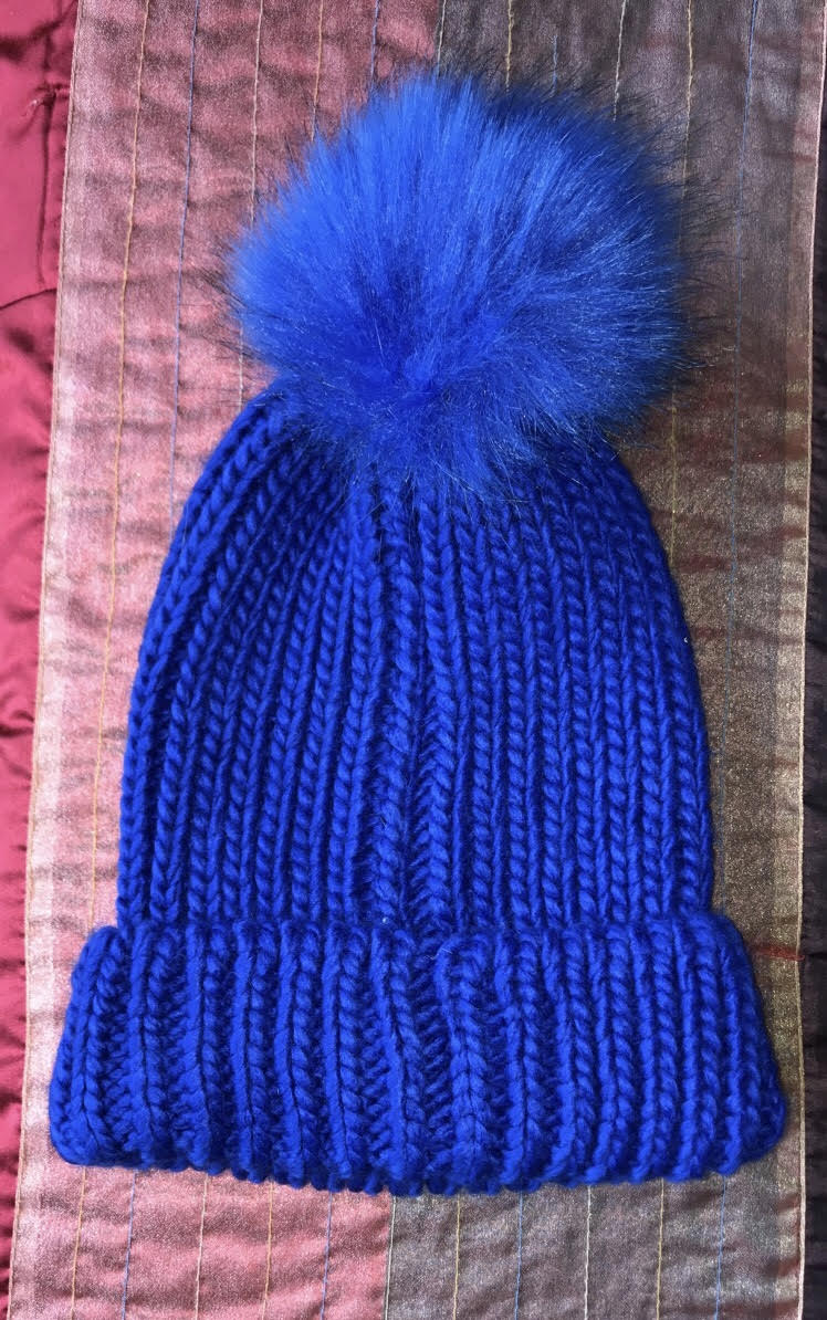 Royal Blue Winter Hat with Blue Pom Pom – Glamhairus fc75eecc467