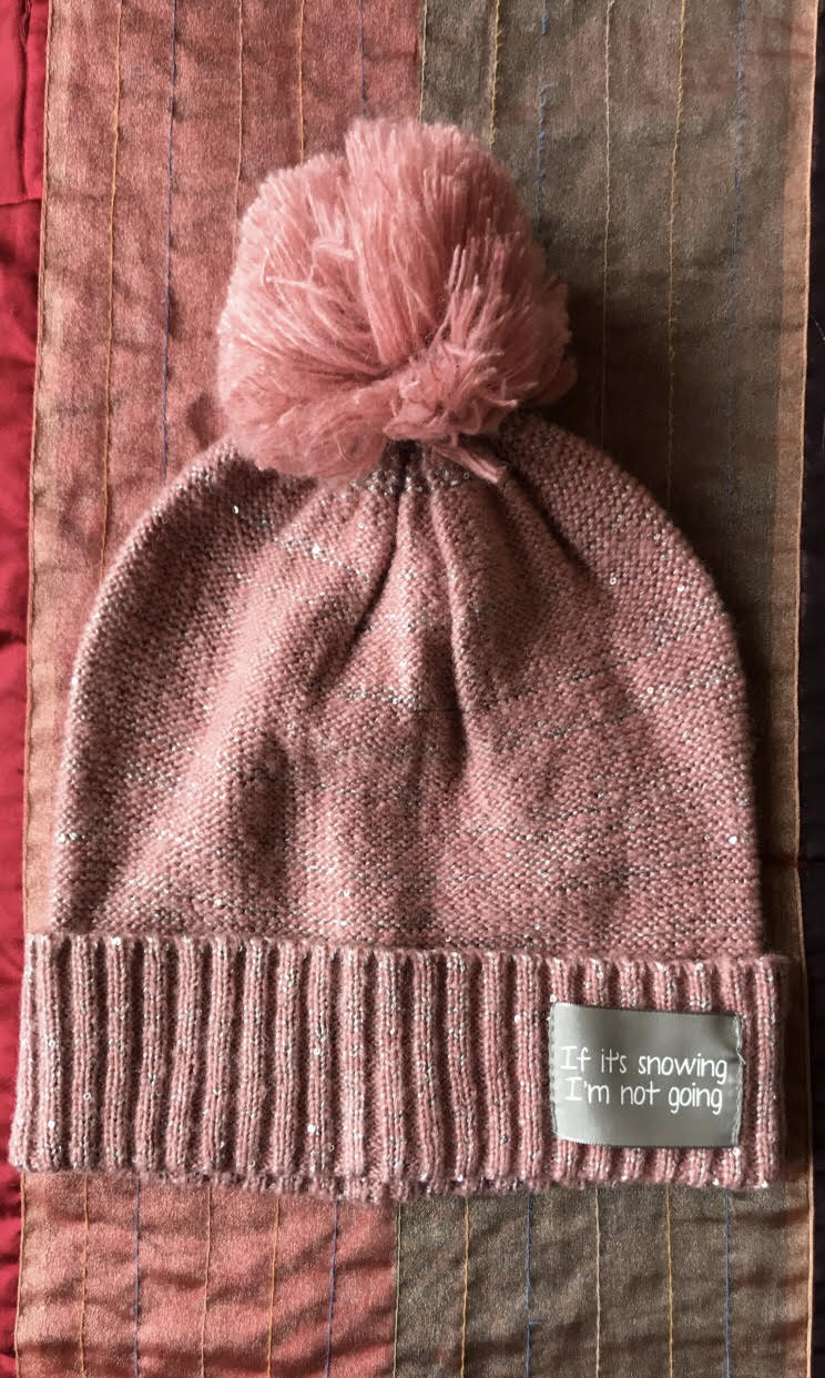ac6c5041 Pink & Grey 'If it's snowing, I'm not going' Hat with Pink Pom