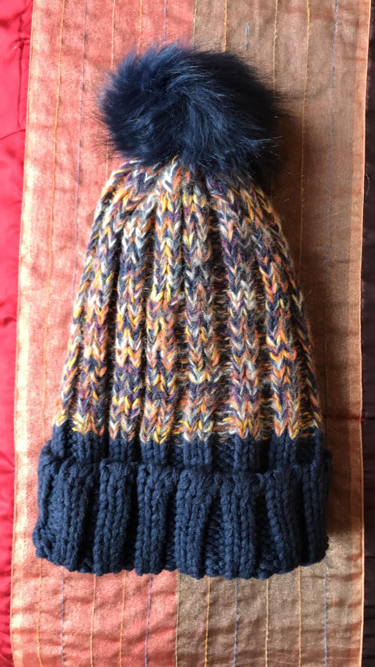 778ef253 Multicolored Winter Hat with Navy Trim and Pom
