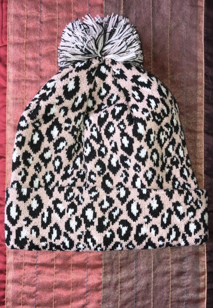 b3693383 Pink Cheetah Hat with Multicolored Pom