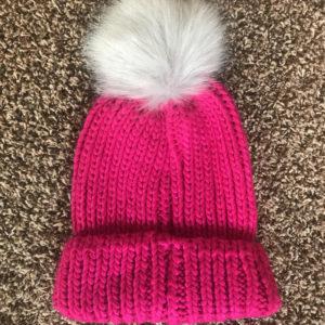 0e5acdb0 Bright Fuschia hat with grey pom pom